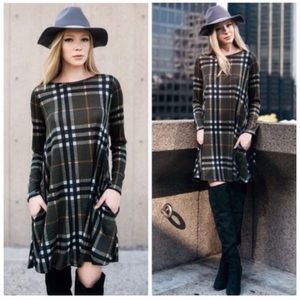 Dresses & Skirts - Olive Plaid Check Loose Flowy Fall Dress Tunic