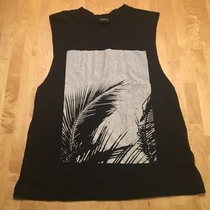 Bebe black graphic muscle shirt.