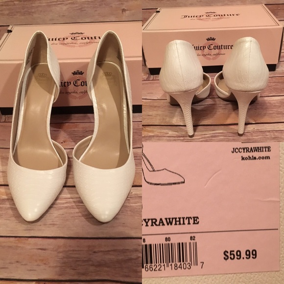 42cf3b180b6 NWT Juicy Couture White Pumps Size 8