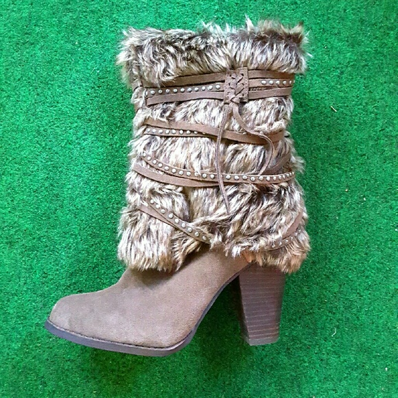 naughty monkey Shoes | Combat Style Taupe Heels | Color
