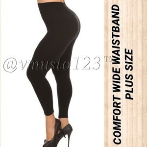 PLUS BLACK WIDE WAISTBAND FLEECE LEGGING