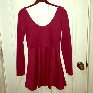 Doublju Dresses & Skirts - Maroon Long Sleeved Skater Dress