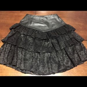 CHIA Dresses & Skirts - CHIA Vintage Leather & Lace 80's Skirt