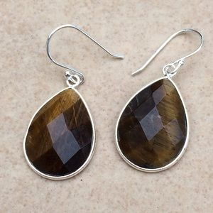 Jewelry - Silver Plated Genuine Tiger Eye Teardrop Earrings