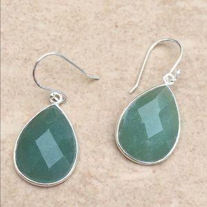 Jewelry - Silver Plated Genuine Green Aventurine Earrings