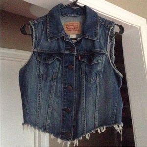 Levi's distressed jean vest