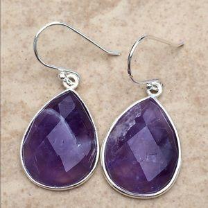 Jewelry - Silver Plated Genuine Amethyst Teardrop Earrings