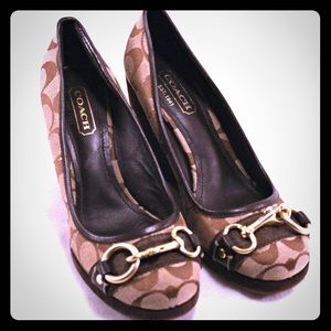 """Coach Shoes - COACH """"Issy"""" Wedges-Tan & Brown Signature Fabric"""