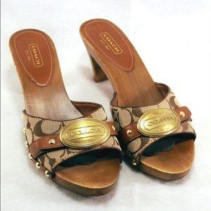 Coach Shoes - COACH Addisyn Wooden Sandals Tan & Brown Signature
