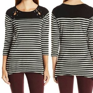 NY Collection Tops - Striped Lace-Up Yoke 3/4 Sleeve Knit Top NWT