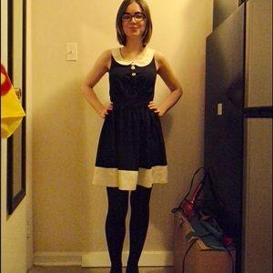 Size small mid thigh length black and white dress