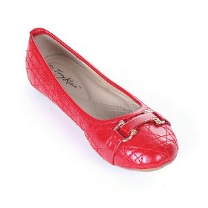 Tory K Women Buckle Stitched Flats, b-1639, Red
