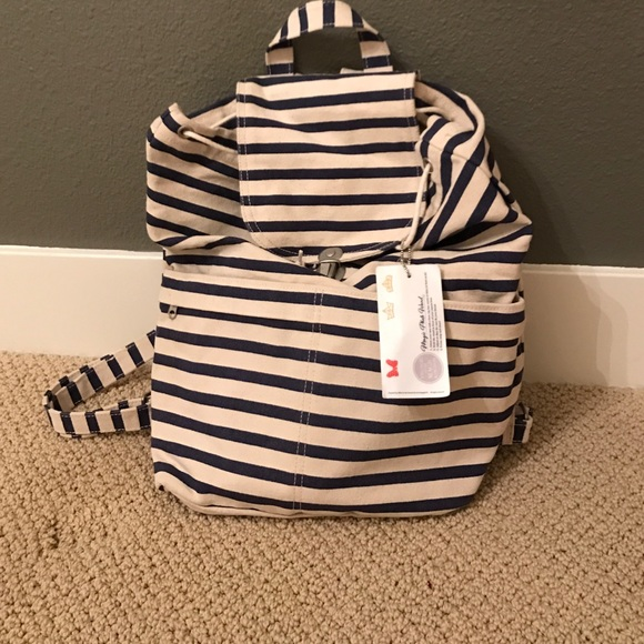 Handbags - NWT navy striped backpack