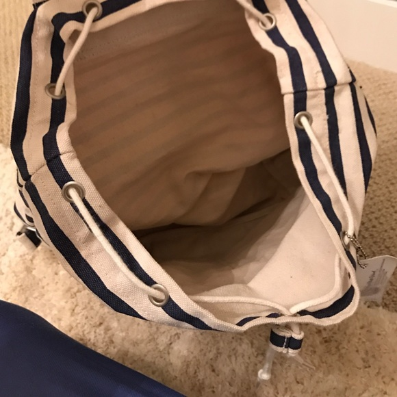 Bags - NWT navy striped backpack