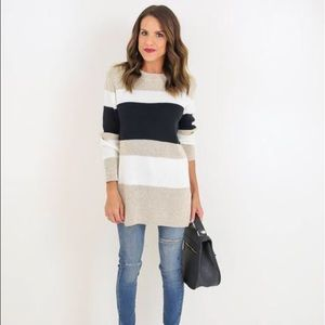 vici collection Sweaters - Nude black and white striped sweater