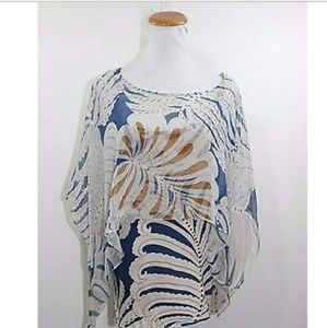 Anthropologie Tops - Anthropologie Silk Cape Tiny Brand Floral Boho Top