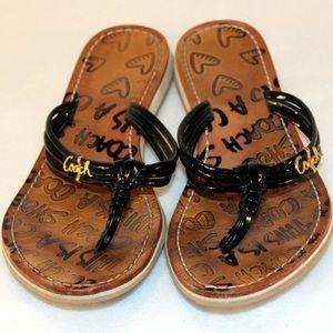 Coach Shoes - COACH Black Patent Style Thong Flip Flops