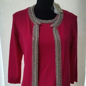Carmen Marc Valvo Sweaters - Carmen Marc Beaded  Scoopneck Blouse & Jacket
