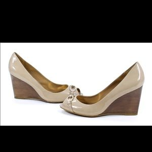 Coach Shoes - COACH Elora Patent Peep Toe Wedges in Cappucino