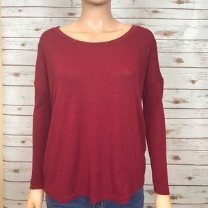 Chaser Tops - Red Long Sleeve Oversize Chaser Shirt Sz.XS