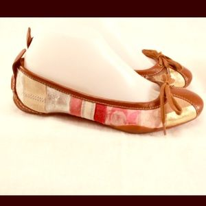 Coach Shoes - COACH Patchwork Multi &Brown Leather Ballet Flats
