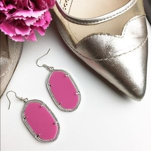 LAST 1! Hot pink geometric drop earrings silver