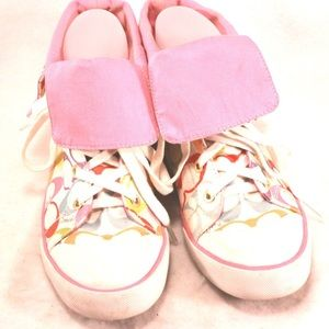 """Coach Shoes - COACH Pink and Rainbow on White """"Bonney"""" High Tops"""