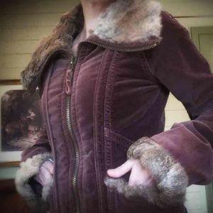 Anthropologie Twill 22, Rabit/Velour Coat
