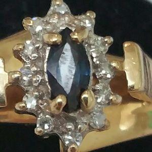 Jewelry - Vintage 10k gold genuine sapphire diamonds ring