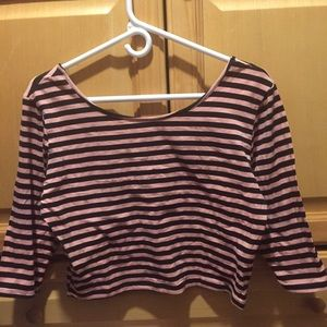 Pink and Black Striped Crop Top