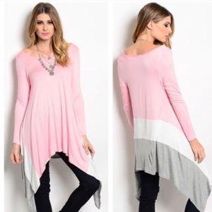 SALE! Pink Asymmetrical Flowy Swing Tunic