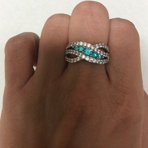 Jewelry - White/aqua Cubic zirconia ring 💍 sterling silver