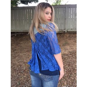 Tops - $10 & UNDER SALE! Blue Lace Open Cardigan