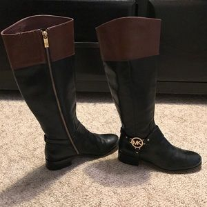 Michael Kors Leather Harness Tall Riding Boots