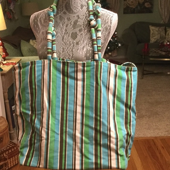 Unknown Handbags - THIS LARGE STRIPED COTTON BEACH BAG