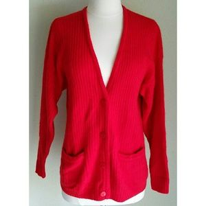 Rafaella Red Angora Rabbit Hair Cardigan Sweater