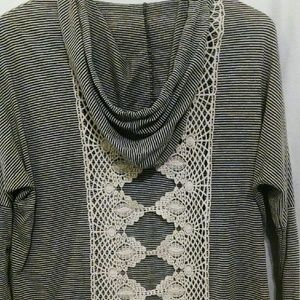 Sage Tops - Navy Pinstripe Lace Back Hooded Cardigan Top