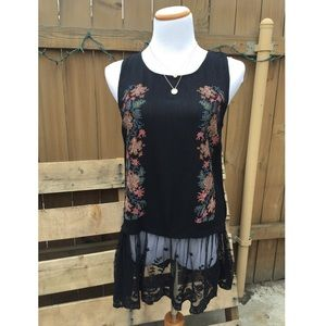 SALE! Beautiful Black Floral &Lace Embroidered Top