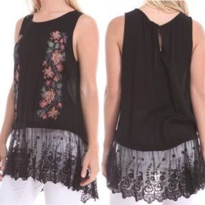 Black Floral & Lace Embroidered Top