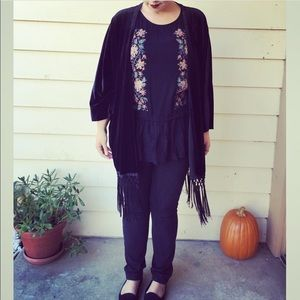 Beautiful Black Floral &Lace Embroidered Top