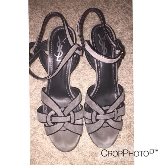 f9866e18c6 Yves Saint Laurent YSL tribute sandals grey suede.  M_5869eb86c284565b220e394c