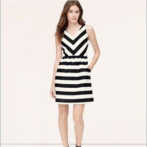 Ann Taylor Loft striped flare dress