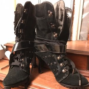 Aldo lace up suede heeled boots rugged sole SZ 6