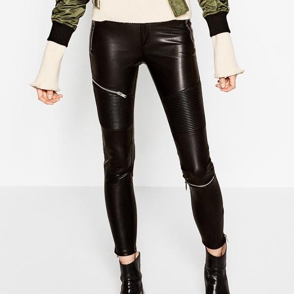 1783872f Zara Pants | Black Leather Moto Biker Legging M | Poshmark