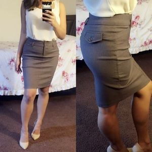 Grey / Beige Midi Skirt