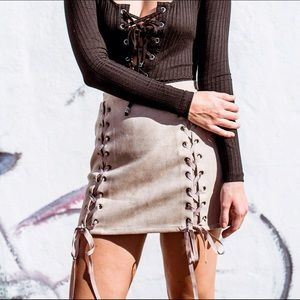 Faux Real Lace Down Skirt