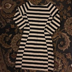 Striped knit dress with offset stripe side panels