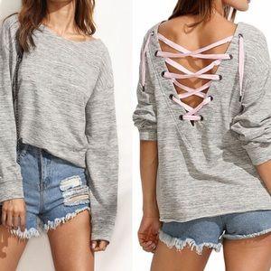 Tops - Gray bandage T shirt