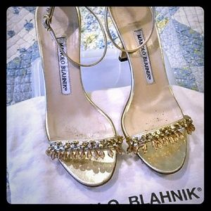 AUTHENTIC Manolo Blahnik Gold Beaded Sandals