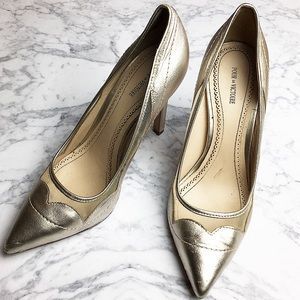 Pour la Victoire Shoes - Metallic high heels pointed toe mesh gold silver